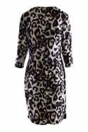 Frank Lyman Animal Print Ruched Wrap Dress - Black/Caramel - 194609