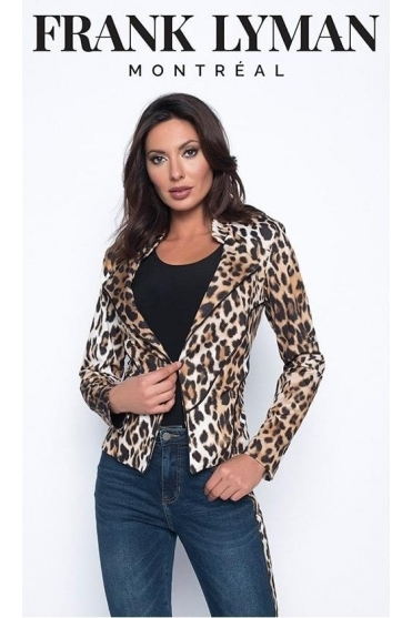 Animal Print Short Length Jacket - 193525