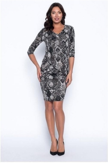 Asymmetric Overlay Snake Print Dress - 194423