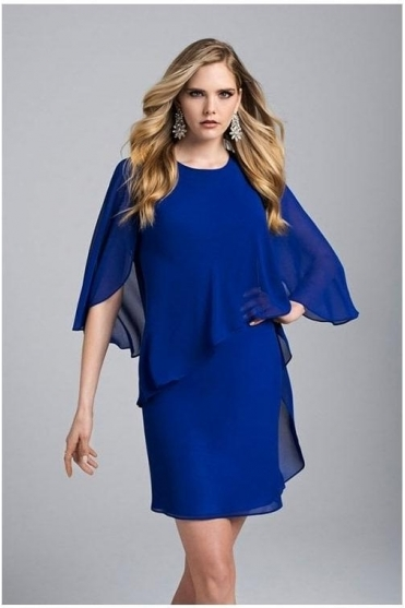 Chiffon Overlay Dress - Royal Blue - 199207
