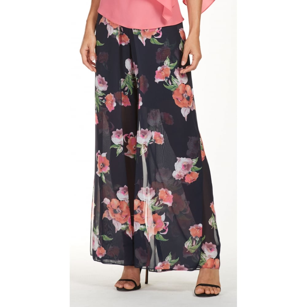 91a05369030ee5 Frank Lyman | Chiffon Overlay Floral Palazzo Trousers | 181473 | Bentleys  Banchory