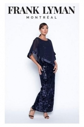 Chiffon Overlay Sequin Detail Gown - Midnight - 199338