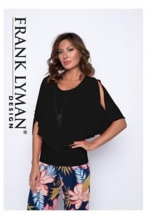Chiffon Overlay Top with Necklace - Black - 191217