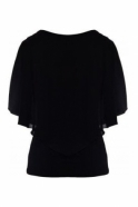 Frank Lyman Chiffon Overlay Top with Necklace - Black - 191217
