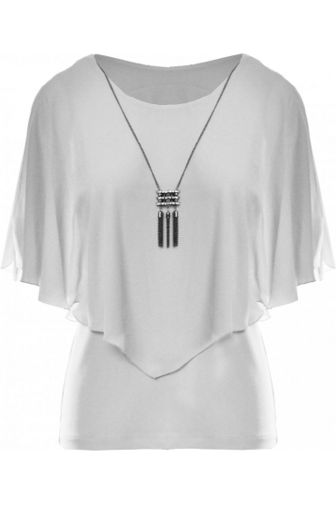 Chiffon Overlay Top with Necklace - Off White - 191217