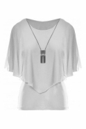 Frank Lyman Chiffon Overlay Top with Necklace - Off White - 191217