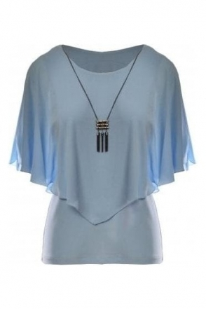 Chiffon Overlay Top with Necklace - Powder Blue - 191217