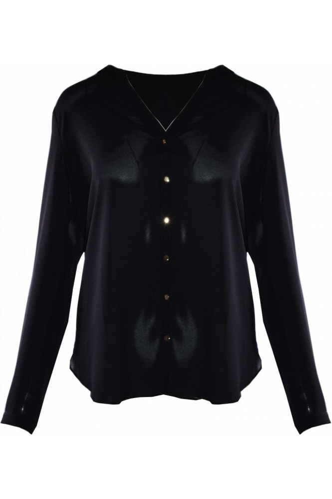Frank Lyman Collarless Button Up Blouse - Black - 191226