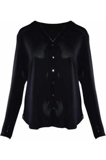 Collarless Button Up Blouse - Black - 191226