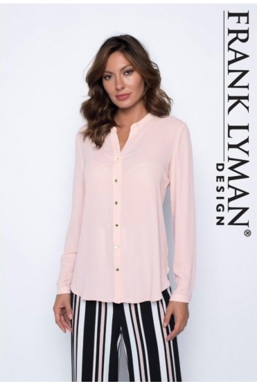 Collarless Button Up Blouse - Petal Pink - 191226