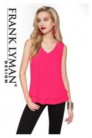 Double Chiffon Overlay Blouse - Flamingo Pink - 61175