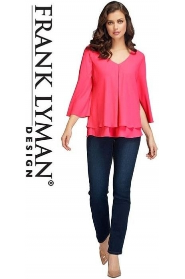 Double Layer Chiffon Blouse - Hibiscus Pink - 176335
