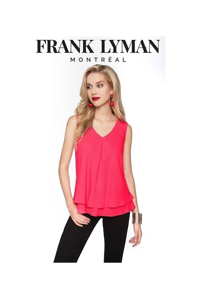 Frank Lyman Double Layer Chiffon Blouse - Hibiscus Pink - 61175