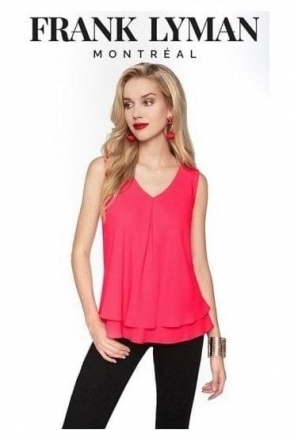 Double Layer Chiffon Blouse - Hibiscus Pink - 61175
