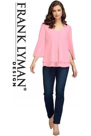Double Layer Chiffon Blouse - Petal Pink - 176335