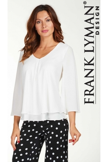 Double Layer Chiffon Blouse - White - 176335