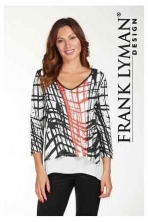Double Layer Geometric Print Blouse - 176134