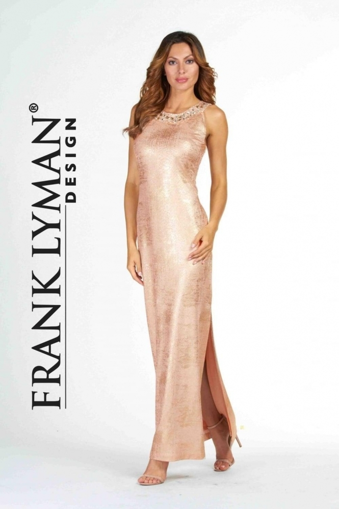 Frank Lyman Embellished Gold Accent Gown - 78186
