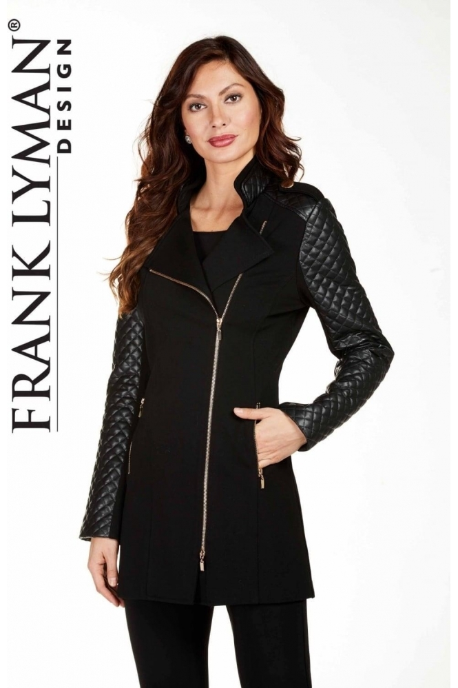 Frank Lyman Faux Leather Diamond Quilted Jacket - 174752