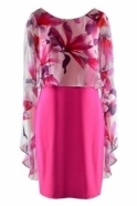 Frank Lyman Floral Chiffon Overlay Cape Dress (Neon Pink) - 198187