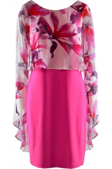 Floral Chiffon Overlay Cape Dress (Neon Pink) - 198187