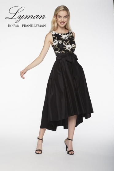 Floral Embroidered High Low Dress (Black) - 198217