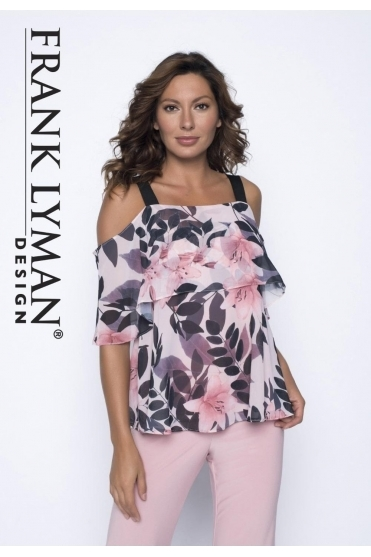 Floral Layered Cold Shoulder Top - Blush - 191404