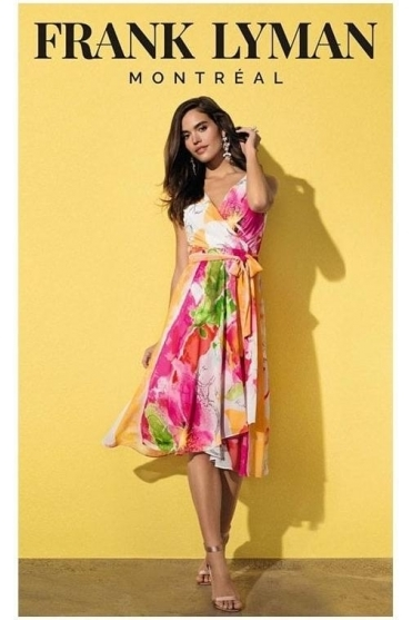 Floral Print Chiffon Overlay Dress - Multi - 201232