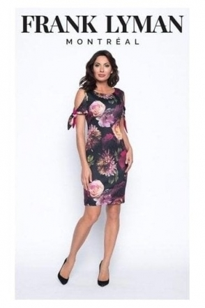 Floral Print Cold Shoulder Dress - 193276