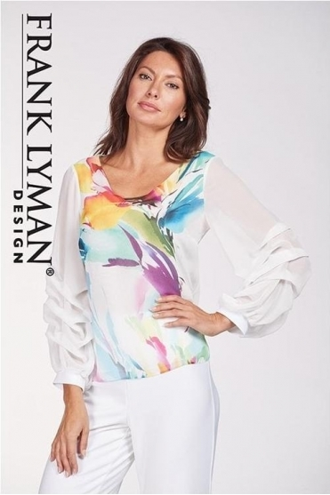 Floral Print Ruffle Sleeve Blouse - 186652
