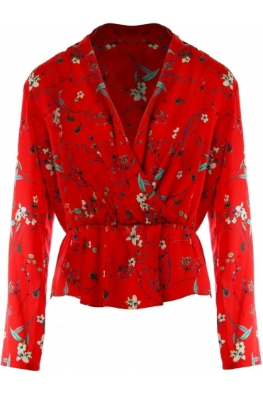 Floral Print Wrap Blouse - Tomato Red - 186692