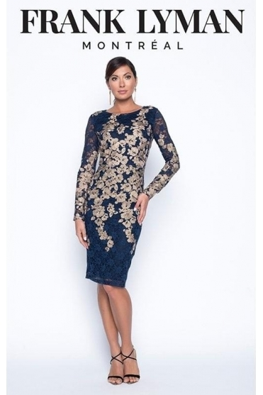 Gold Embroidered Detail Dress - Navy/Gold - 199449