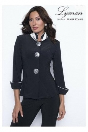 High Collar Button Detail Jacket (Black) - 198021