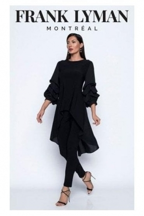 Longline Pin Tuck Sleeve Blouse - Black - 195086