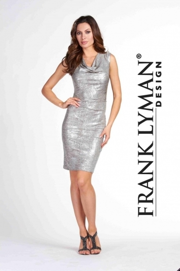 Metallic Cowl Neck Dress - 65216