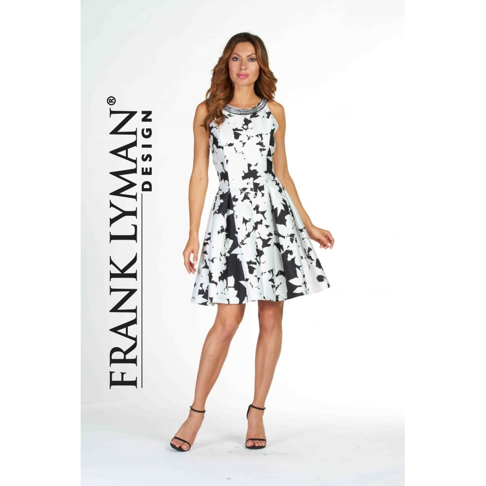 Dresses For Special Occasions Canada: Monochrome Flared Embellished Dress