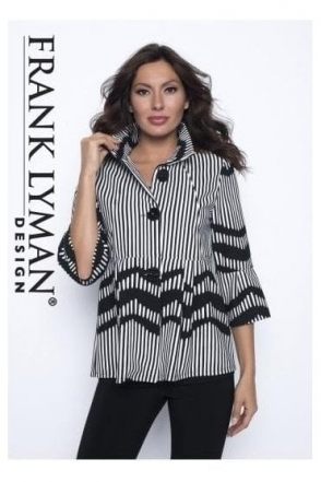 Monochrome Stripe Swing Jacket - 186876