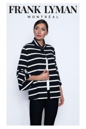 Monochrome Stripe Swing Jacket - 196579