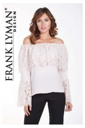 Off the Shoulder Lace Flare Blouse - 175272