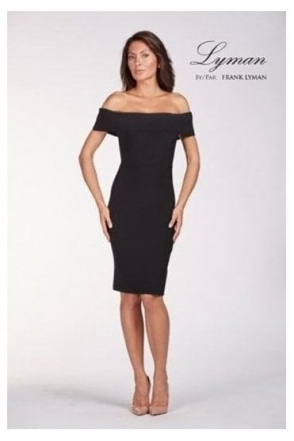 Off The Shoulder Shift Dress - Black - 198041