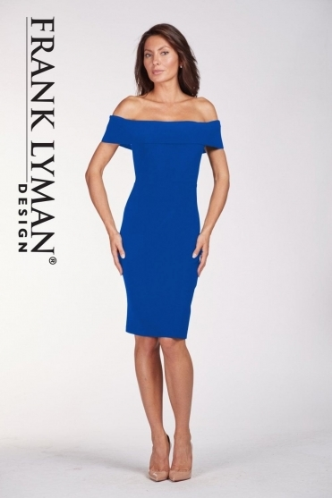 Off The Shoulder Shift Dress - Royal Blue - 198041