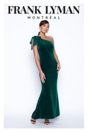 One Shoulder Bow Detail Gown - Emerald Green - 199334