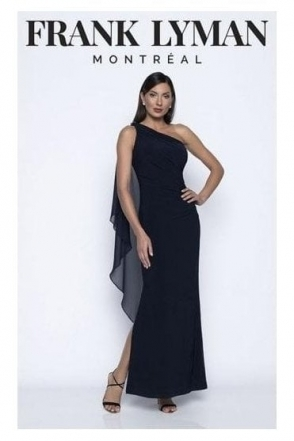 One Shoulder Drape Gown - Midnight - 208019