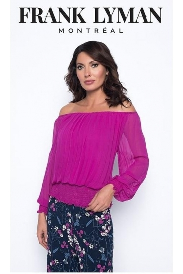 Pleated Elastic Detail Blouse - Orchid Pink - 193299