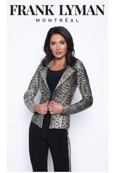 Snake Print Short Length Jacket - Black/Beige - 193726