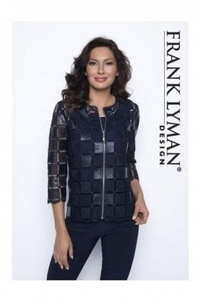 Square Textured Woven Jacket (Navy) - 186084U
