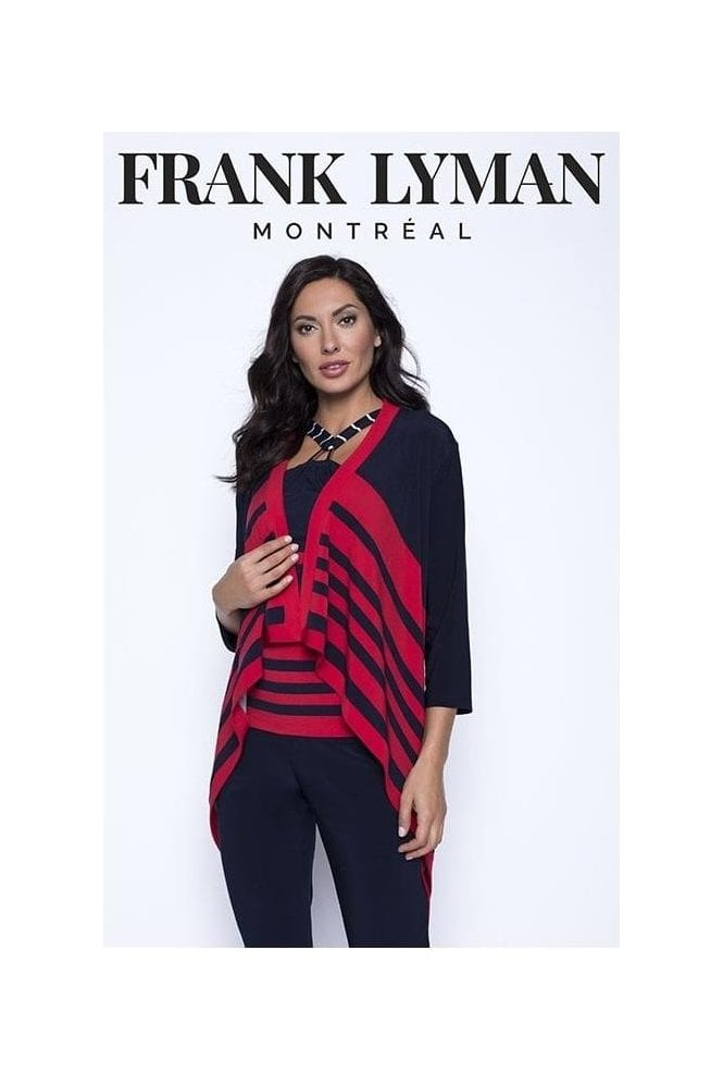 Frank Lyman Stripe Detail Drape Cover Up - Navy/Red - 201471