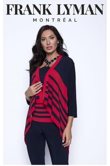 Stripe Detail Drape Cover Up - Navy/Red - 201471