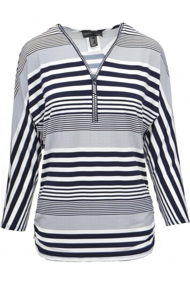 Frank Lyman Stripe Embellished Zip Tunic - 172250