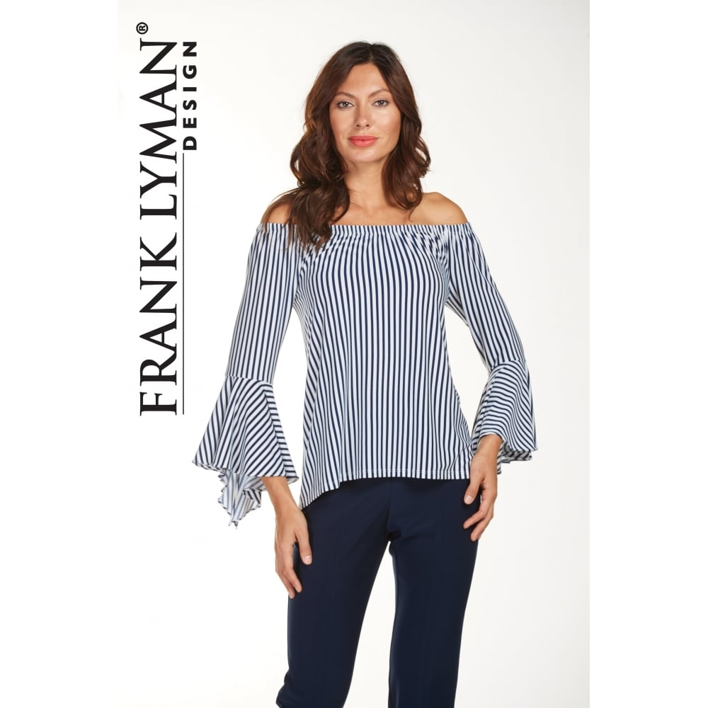 2f989eae5f6c7 Frank Lyman Stripe Off Shoulder Flute Sleeve Top - 181440. Click to enlarge